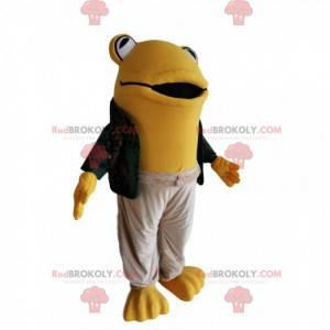Gelbes Froschmaskottchen mit einem lässigen Outfit -
