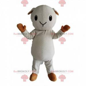 Mascote pequena ovelha branca e bege - Redbrokoly.com