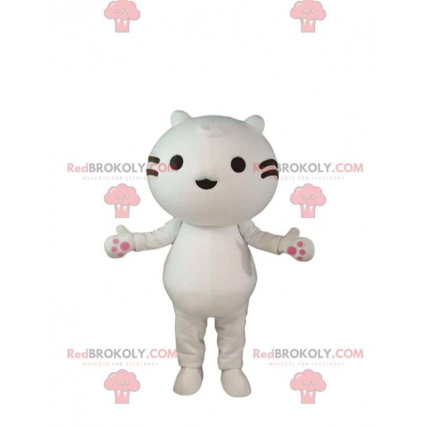 Maskot malá bílá kočka s černými vousy - Redbrokoly.com