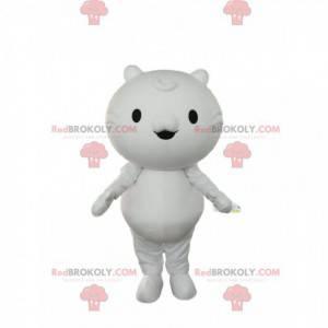 Kleines weißes Katzenmaskottchen mit kleinen Augen und kleinen