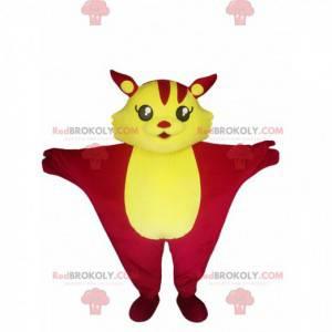 Fuchsia und gelbes fliegendes Katzenmaskottchen. Katzenkostüm -