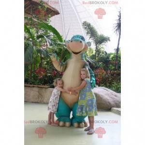 Obří modrý a béžový maskot dinosaura - Redbrokoly.com