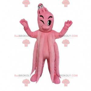 Mascotte gigante del polpo rosa e il suo bambino -
