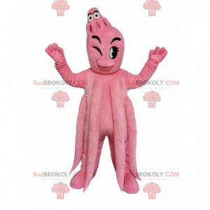 Reusachtige roze octopusmascotte en haar baby - Redbrokoly.com