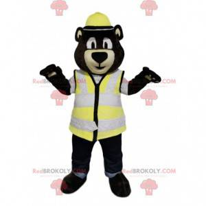 Brown bear mascot with a helmet and a yellow vest -