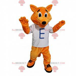 Juguetón mascota zorro rojo con una camiseta blanca -
