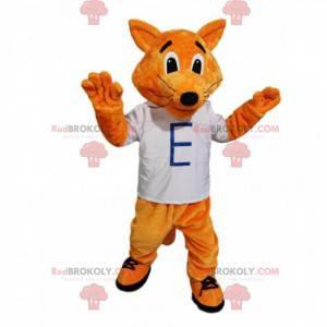 Mascote da raposa vermelha brincalhão com uma camiseta branca -