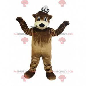Mascote de lontra marrom com um pequeno chapéu de rato branco -