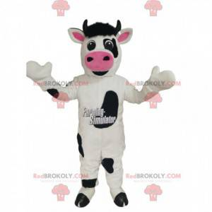 Black and white cow mascot with a big pink muzzle -