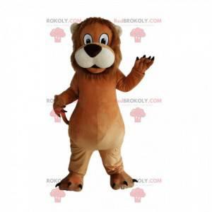 Maskot hnědého lva s velkou tlamou - Redbrokoly.com