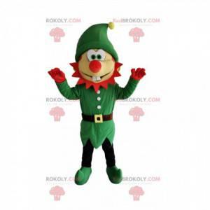 Maskot komické skřítek se zeleným kostýmem a červeným nosem -