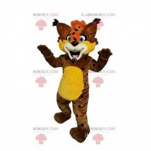Morsom brun gaupe maskot med oransje topp! - Redbrokoly.com