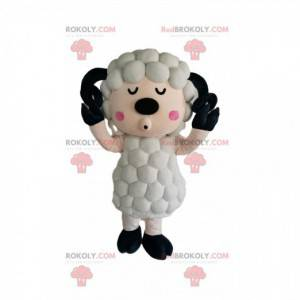Mascote ovelha branca com um casaco original - Redbrokoly.com