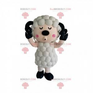 Weißes Schafmaskottchen mit einem ursprünglichen Mantel -