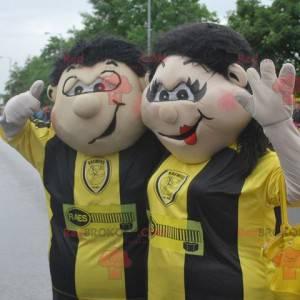 Mascote de homem e mulher de um casal de apoiadores -
