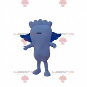 Blaues Fußmaskottchen mit kleinen Flügeln - Redbrokoly.com