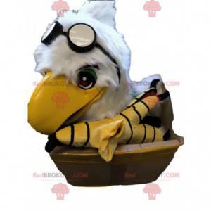 Witte adelaarskop mascotte met vliegeniersbril - Redbrokoly.com