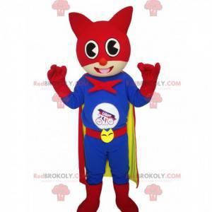 Katzenmaskottchen mit einem Superheldenkostüm - Redbrokoly.com