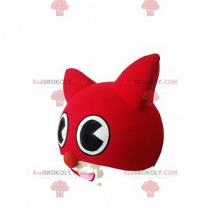 Mascotte testa di gatto rosso e bianco - Redbrokoly.com