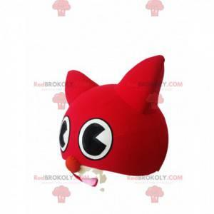 Rode en witte kat hoofd mascotte - Redbrokoly.com