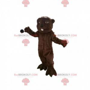 Mascotte castoro marrone con begli occhi. - Redbrokoly.com