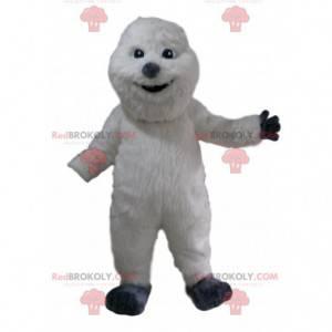 Hvit snømannmaskott med vakker kappe og grå nese -