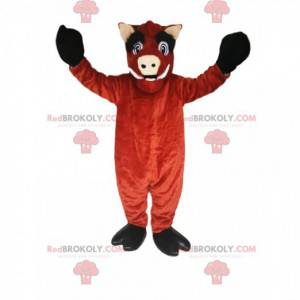 Brown boar mascot with large canines and big eyes -