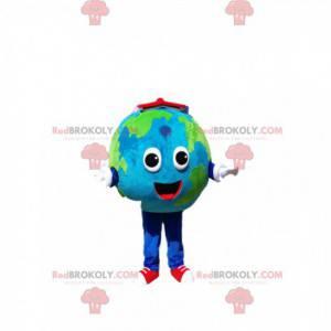 Jordens maskot med et stort smil og en rød bok - Redbrokoly.com