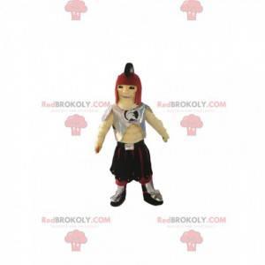 Mascota guerrera con casco romano y armadura plateada. -
