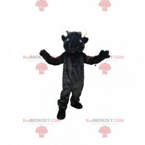 Black cow mascot with beautiful horns and blue eyes -