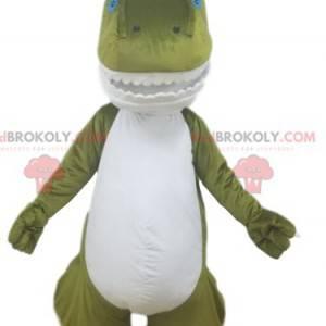 Zelený a bílý maskot dinosaura s pěknými zuby - Redbrokoly.com