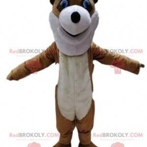 Brązowy i biały niedźwiedź maskotka z głową zbyt zabawną -
