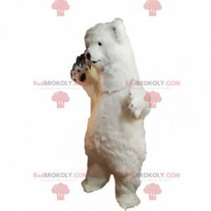 Isbjørnemaskot med lys pels - Redbrokoly.com