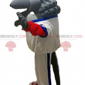 Mascota de armadillo gris con ropa deportiva blanca -
