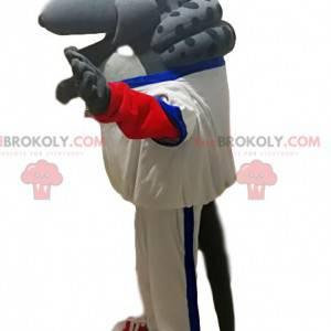Mascotte armadillo grigio con abbigliamento sportivo bianco -