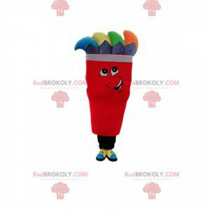 Red character mascot with gray and multicolored wicks -