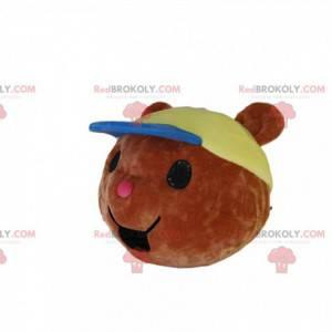 Piccola testa mascotte orso bruno, con un berretto -
