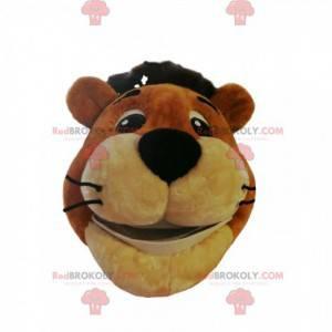 Tiger maskot hoved med et stort smil - Redbrokoly.com