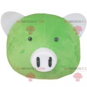 Cabeza de mascota de cerdo verde con hocico blanco -