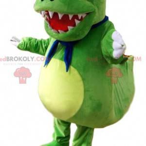 Mascot small green dinosaur with big orange eyes -