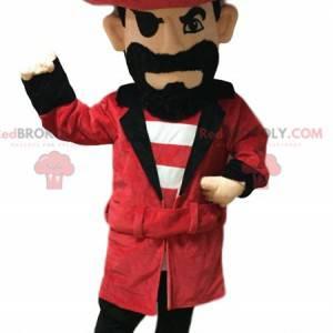 Mascota pirata con un sombrero rojo y una hermosa barba negra.
