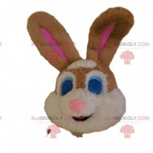 Cabeça de mascote de coelho marrom e branco, com olhos azuis -