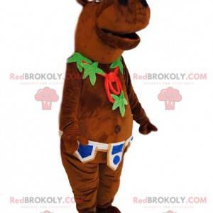 Mascota Hyppopotamus con un collar de hojas y un cinturón -