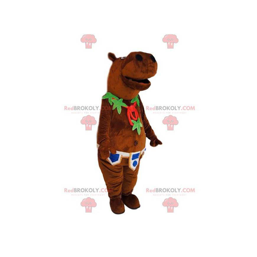 Hyppopotamus mascot with a leaf necklace and a belt -