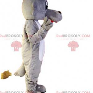 Šedý a bílý psí maskot s dlouhou tlamou - Redbrokoly.com