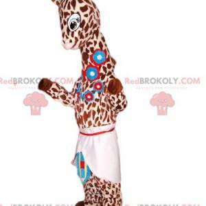 Giraffe mascotte met blauwe bloemen en een schort -