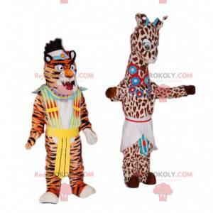 Duo di mascotte giraffa e tigre con costumi tradizionali -