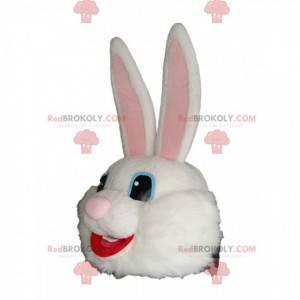 Testa molto felice della mascotte del coniglio bianco -