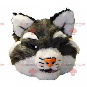 Šedá divoká kočka maskot hlava - Redbrokoly.com