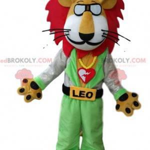 Leo das Löwenmaskottchen mit Brille und roter Mähne -